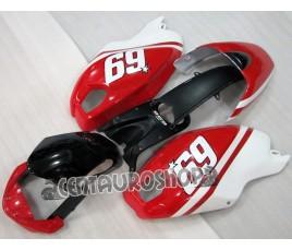 Carena in ABS Ducati Monster 696 796 1100 1100S Hayden 69 bianco e rosso