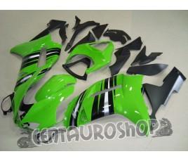 Carena in ABS Kawasaki ZX-6R Ninja 636 07-08 Green Silver Stripe