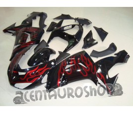Carena in ABS Kawasaki ZX10R Ninja 06 07 colorazione Black Flames