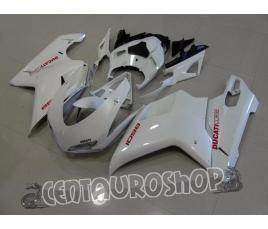 Carena in ABS Ducati 848 1098 1198 colorazione bianco perlato con adesivi rossi