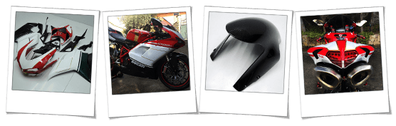 Carena in abs per Ducati 1098s tricolore con inserti carbon look